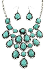 Other Turquoise stones Boho Chic Silver Rhodium Turquoise Necklace Set