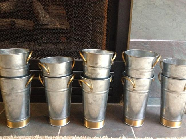 Item - Silver with Gold Trim and Handles 10 Mini Flower Pots // Rustic Bohemian Farm Ceremony Decoration