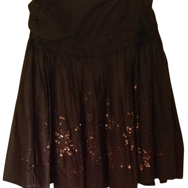Kenar Black White Fun Party Special Event Sequins Embroidered Skirt Brown