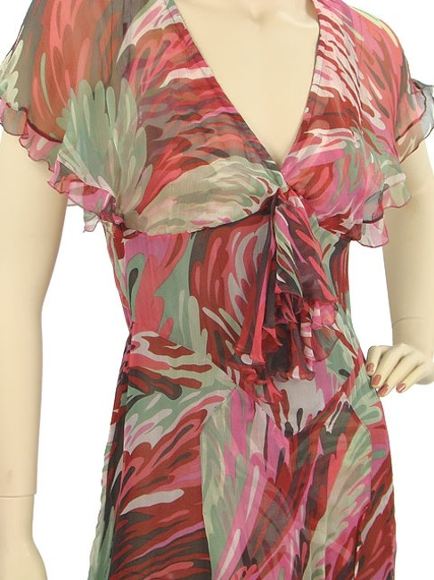 Missoni Sheer Print Animal Print Silk Pleated Flowy Floral Evening Summer Spring Dress