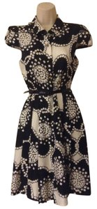 Kate Spade Monochrome Floral Flower Flowered Shirt Gold Buttons Silk Dress