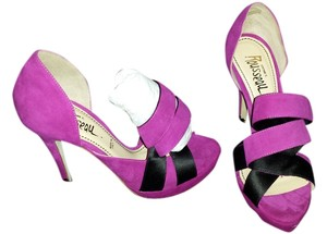 Jerome C. Rousseau Heels Suede Platforms Bows Party FUSCHIA BLACK Pumps