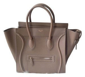 Céline Leather Gold Hardware Beige Nude Tote in Camel