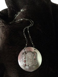 Other Long Sterling Silver Necklace With Rhinestone Pendant