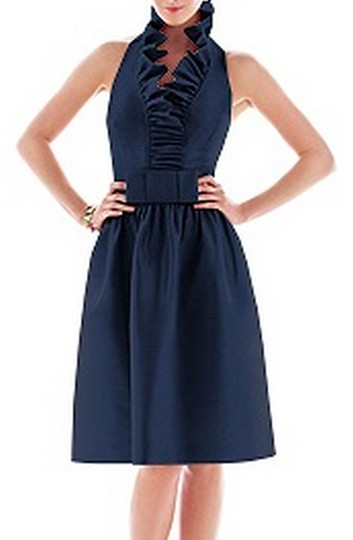 Alfred Sung Midnight Blue Dupioni Style D468 Formal Bridesmaid/Mob Dress Size 6 (S)