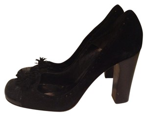Chloé Leather Made In Italy Suede Tassels Black with dark brown heel Pumps