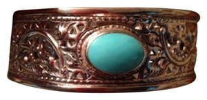 Silver Bracelet With Turquoise Center Stone