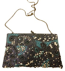 Moyna Beaded midnight blue with beads and crystals Clutch