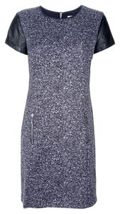 Michael Kors Silver Silver Hardware Pockets Zip Tweed Leather Sleeve Cap Sleeve Leather Michael Comfortable Night Out Dress