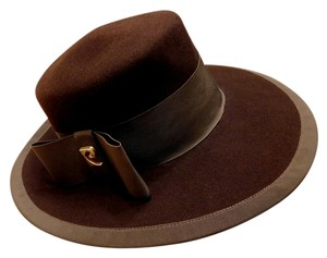 Pierre Cardin Vintage 1960-70s Pierre Cardin Brown Wool Hat Bow