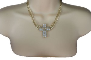 Other Women Short Necklace Gold Metal Chains Big Cross Pendant Fashion Jewelry Earring