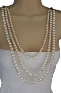 Other Women Necklace Back Front Sides Cream Imitation Pearl Beads Fashion Jewelry