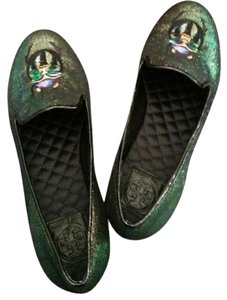 Tory Burch Holographic Cailyn Smoking Slippers Multicolor Green Flats
