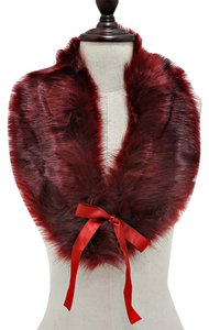 Burgundy Fur Wrap Collar Stole Scarf Neckwarmer