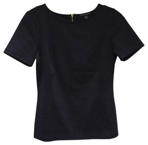 Banana Republic Short Sleeve Zipper Top Navy Blue