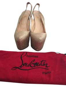 Christian Louboutin Hidden Platform Slingback gold Pumps