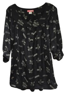 Lux Silk Sleeves Patterned Top Black