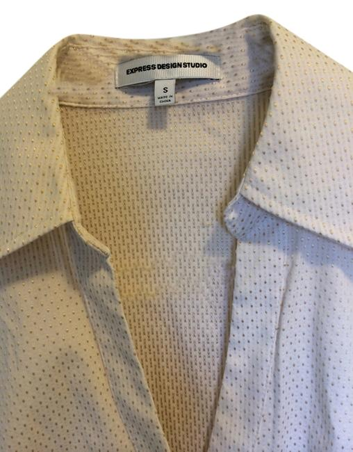 Express Button Down Shirt White with gold/beige