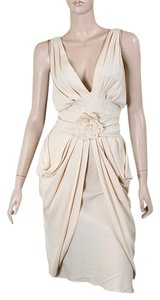 Moschino Crepe Drape Draped Evening Sleeveless Floral V-neck Pleated Dress