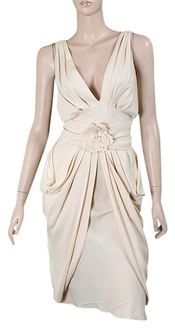 Preload https://item5.tradesy.com/images/moschino-biege-ivory-vanilla-crepe-draped-knee-length-cocktail-dress-size-4-s-1072279-0-0.jpg?width=400&height=650