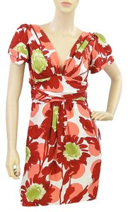 Moschino short dress Red, Pink, Green, White Floral V-neck Drape Draped on Tradesy