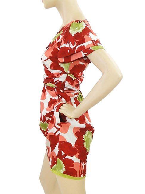 Moschino short dress Red, Pink, Green, White Floral V-neck Drape Draped Print Spring on Tradesy