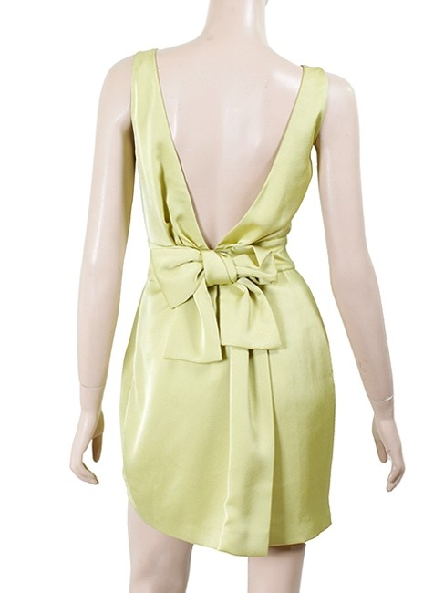 Moschino Evening Tie Tiered Sleeveless Drape Draped V-neck Pleated Sheath Satin Silk Dress