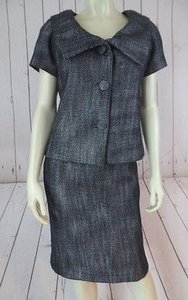 Banana Republic Banana Republic Suit Blazer Skirt Cotton Blend Textured Black White Tweed