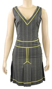 Moschino Pinstripe Wool Pleated Striped V-neck Dress