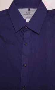 Geoffrey Beene New In Package Button Down Shirt FIG DK BLUE BLK STRIPE