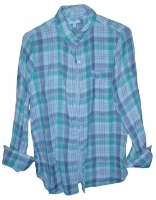Gap Button Down Shirt green, gray and white