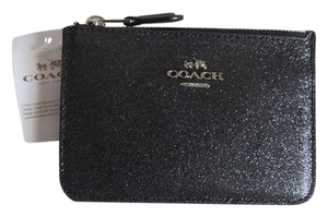 Coach Nwt Coach Black Leather and Metallic Glitter Small Cash Coin and Credit Card Key Pouch Case Wallet Bag