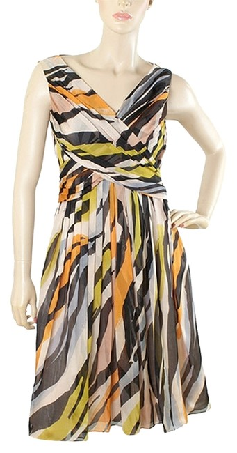 Moschino V-neck Party Bold Bold Stripe Striped Chiffon Silk Dress