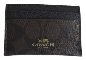 Coach Nwt Coach Signature Logo Embossed Brown And Black Cash, Credit Card Case, ID Wallet