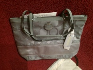 Coach Tote in Silver and Grey