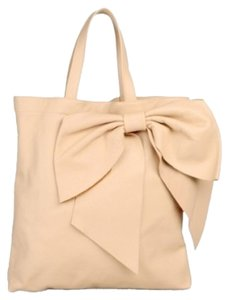 RED Valentino Bow Top Handle Top Handle Designer Bow Purse Purse Purse Purse Shoulder Shoulder Bow New New Leather Tote in Light Pink