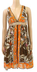 Nicole Miller short dress Orange, Brown, Ivory V-neck Summer Bohemian Boho Print Empire Waist on Tradesy