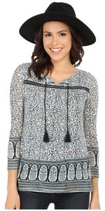 Lucky Brand Peasant Pretty Feminine Floral Spring Summer Chic Border Print Top Blue