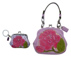 Coach Flower Applique Pink Purple Baguette