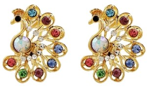 Other Gold Tone Colorful Peacock Stud Earrings J1838