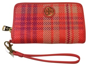 Tory Burch Tory Burch Robinson Plaid Smartphone Wristlet Poppy Coral Carnation Red Pink Stripe Tweed