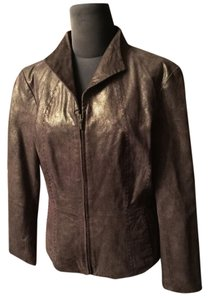 Coldwater Creek Leather Metallic Gold/Brown Leather Jacket