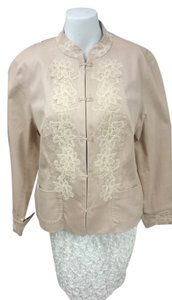Coldwater Creek Asian Lace Manderine Collar Petite Antique Pink Womens Jean Jacket