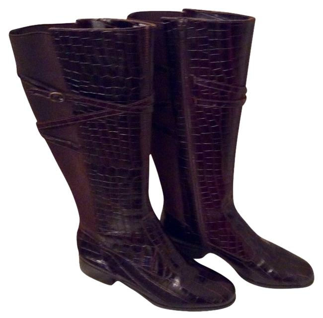 Item - Chocolate Brown Leather New Rosa Croc Embossed Boots/Booties Size US 9 Regular (M, B)