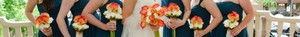 Ivory and Burnt Orange Custom Made Artificial Flower Bridal Party Set