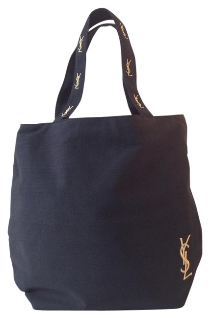 Item - Shopping Tote Yves Black and Gold Canvas Shoulder Bag