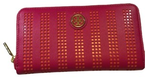 Tory Burch Tory Burch Robinson Perforated Zip Continental Carnation Red Pink Poppy Coral Orange Saffiano Leather New With Tag Wallet