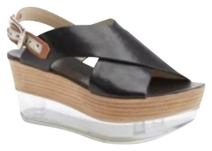 Attilio Giusti Leombruni Agl Flatflom Platform Black leather clear lower sole Wedges
