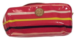 Tory Burch Red Volcano Classic Stripe Ew Cosmetic Case