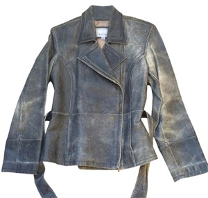 Wilsons Leather Double Breasted Rustic Olive Leather Jacket